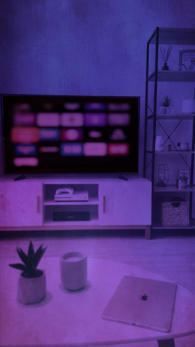 Connected Television with Smart TV on Screen