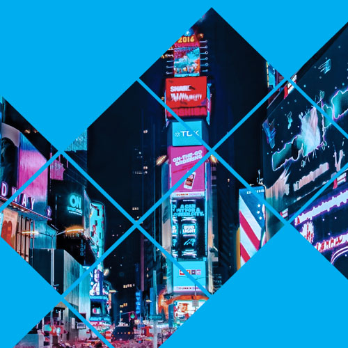 Time Square billboards at night