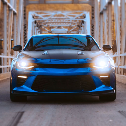 Aerial view of car on driveway